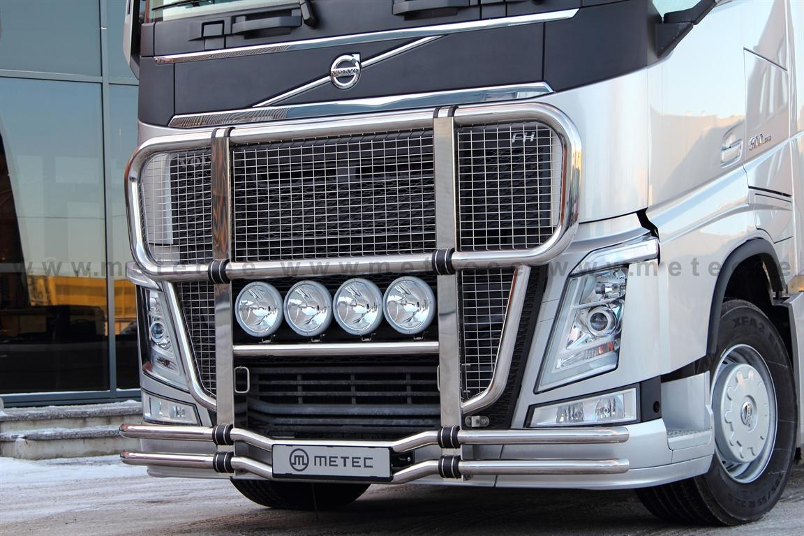 Cattle guard ´Nordic´ MEGA with NET fi 76+60 mm, polished VOLVO FH13-
