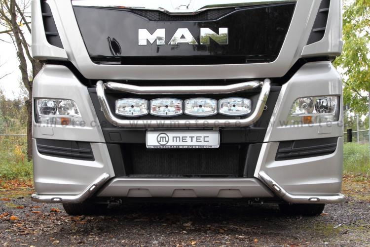 Front corner bumper, fi 60 mm, LED,polished  MAN TGX(2013-)